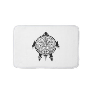 Tribal Turtle Shield Tattoo Bathroom Mat