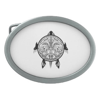 Tribal Turtle Shield Tattoo Belt Buckle