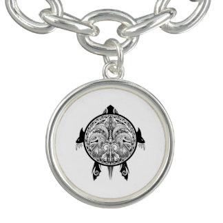 Tribal Turtle Shield Tattoo Charm Bracelet