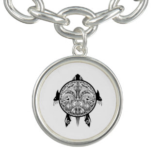 Tribal Turtle Shield Tattoo Charm Bracelets