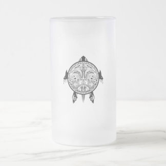 Tribal Turtle Shield Tattoo Frosted Glass Beer Mug