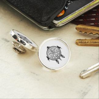Tribal Turtle Shield Tattoo Lapel Pin