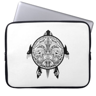Tribal Turtle Shield Tattoo Laptop Sleeve
