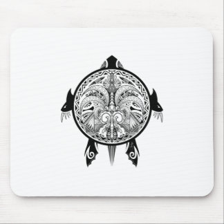 Tribal Turtle Shield Tattoo Mouse Pad