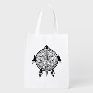 Tribal Turtle Shield Tattoo Reusable Grocery Bag