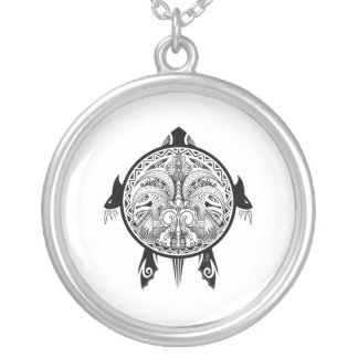Tribal Turtle Shield Tattoo Silver Plated Necklace
