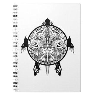 Tribal Turtle Shield Tattoo Spiral Note Book