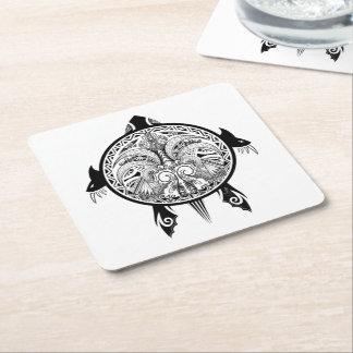Tribal Turtle Shield Tattoo Square Paper Coaster