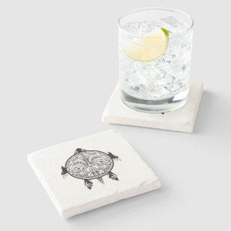 Tribal Turtle Shield Tattoo Stone Beverage Coaster