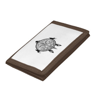 Tribal Turtle Shield Tattoo Tri-fold Wallets