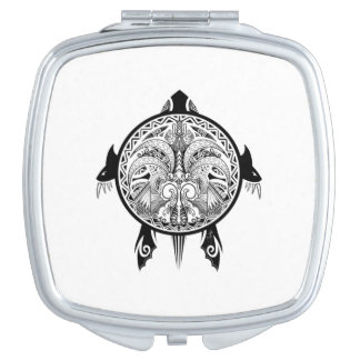 Tribal Turtle Shield Tattoo Vanity Mirrors