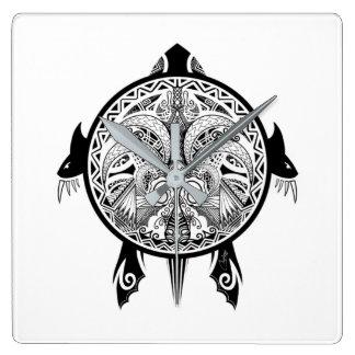 Tribal Turtle Shield Tattoo Wallclocks