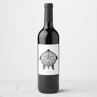 Tribal Turtle Shield Tattoo Wine Label