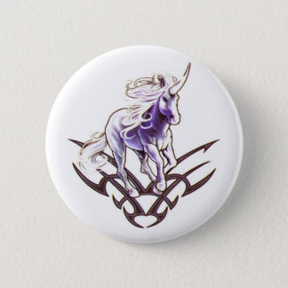 Tribal unicorn tattoo design 2 inch round button