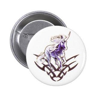 Tribal unicorn tattoo design 2 inch round button