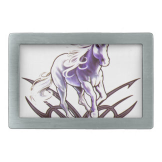 Tribal unicorn tattoo design belt buckle