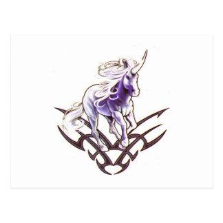Tribal unicorn tattoo design postcard