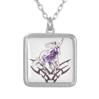 Tribal unicorn tattoo design silver plated necklace