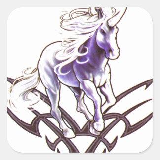 Tribal unicorn tattoo design square sticker