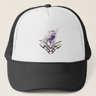 Tribal unicorn tattoo design trucker hat