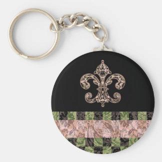 Tribal Voodoo Fleur de lis Basic Round Button Keychain