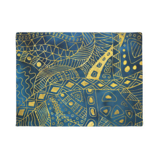 Tribal  Watercolor and Gold Pattern on blue Doormat