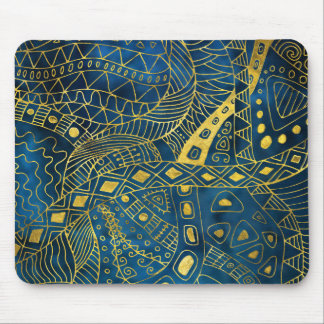 Tribal  Watercolor and Gold Pattern on blue Mouse Pad