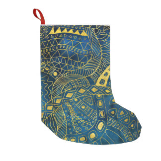 Tribal  Watercolor and Gold Pattern on blue Small Christmas Stocking
