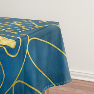 Tribal  Watercolor and Gold Pattern on blue Tablecloth
