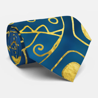 Tribal  Watercolor and Gold Pattern on blue Tie