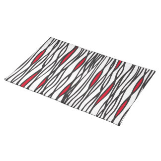 Tribal weave black, white and red canvas placemat
