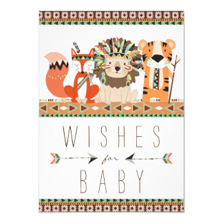 Tribal Wishes for Baby Fox Lion Tiger Baby Shower Card
