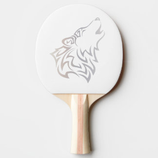 Tribal Wolf Animal Beige White Ping Pong Paddle