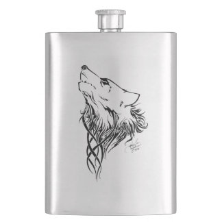 Tribal Wolf Hip Flask