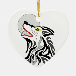 tribal wolf howl at the moon ceramic ornament