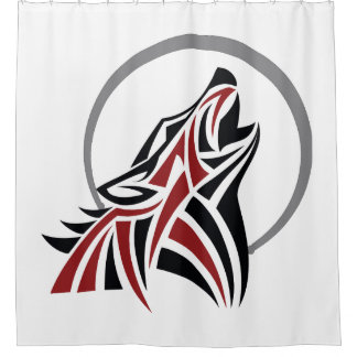 Tribal Wolf Howling Red Black Grey Moon
