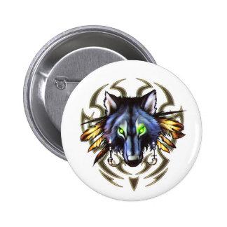 Tribal wolf tattoo design 2 inch round button