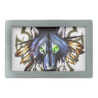 Tribal wolf tattoo design belt buckles