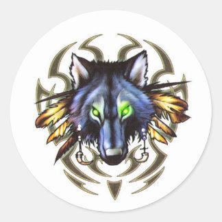 Tribal wolf tattoo design classic round sticker