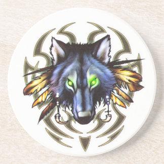 Tribal wolf tattoo design coaster