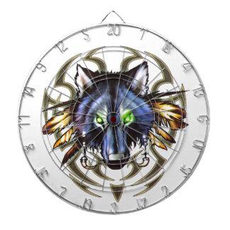 Tribal wolf tattoo design dartboard