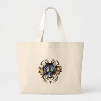 Tribal wolf tattoo design large tote bag