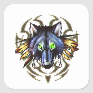 Tribal wolf tattoo design square sticker