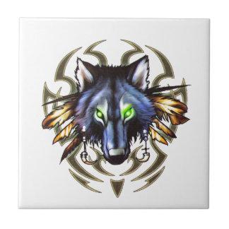 Tribal wolf tattoo design tile