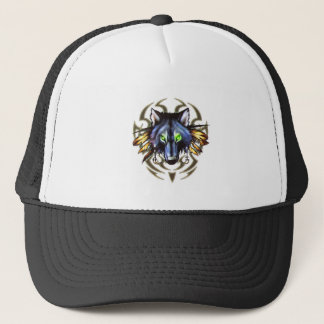 Tribal wolf tattoo design trucker hat