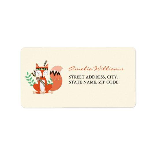 Tribal Woodland Fox Baby Shower Address Label