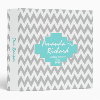 Tribal Zig Zag Pattern Aqua 3 Ring Binders