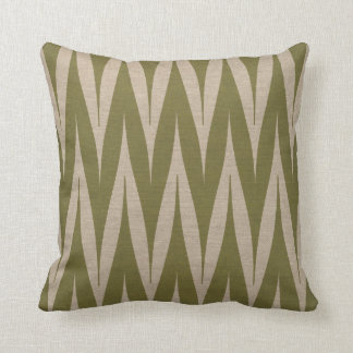 Tribal Zigzag Pattern Olive on Linen Look Throw Pillow