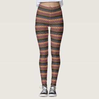 Tribal Zigzag Print Leggings Brown