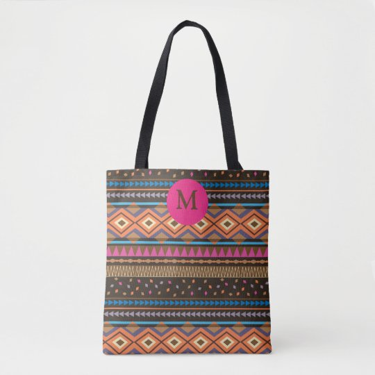 Tribal Zigzag print Monogrammed Tote Brown/orange